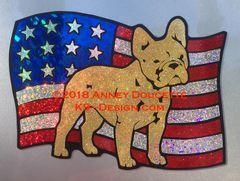 French Bulldog on USA American Flag Magnet - Choose Color