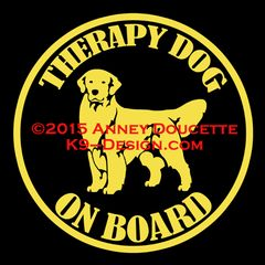 "Golden Retriever THERAPY - SERVICE - SHOW DOG ON BOARD 6"" Magnet"
