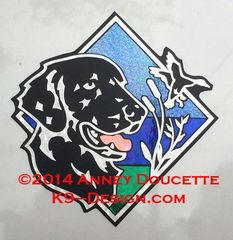 """Flat-Coated Retriever Duck / Hunting Diamond 8"""" Magnet - Black or Liver"""