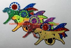 Labrador Retriever Trot With Ribbon Magnet - Choose Dog & Ribbon Color