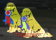 Golden Retriever Sitting Holding Ribbon Magnet - Choose Ribbon Color