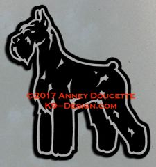 Giant Schnauzer Stand Front Magnet - Choose Color and Cropped or Natural Ears