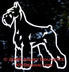 Giant Schnauzer Stand Front Decal - Choose Color