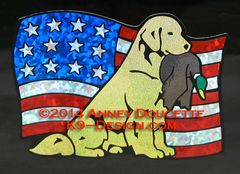 Golden Retriever Sitting With Duck on USA Flag Magnet