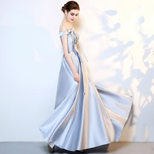 Wholesale SSYFashion New Evening Dress The Bride Banquet Elegant Simple  Grey Satin Floor-length Prom Party Gown Custom Formal Dresses ee88ac2be958