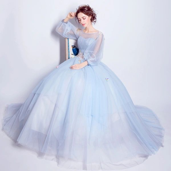 Wholesale SSYFashion Sweet Light Blue Flower Fairy Princess Prom ...