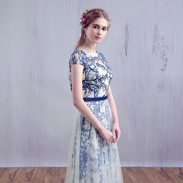 Wholesale 2017 Evening Dress SSYFashion Bride Banquet Lace Long Party Gown  Elegant Blue and White Porcelain Embroidery Long Prom Dresses 3093a701d158