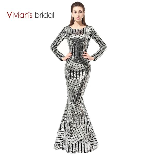 Wholesale Vivian\'s Bridal Long Sleeve Gowns Dresses Sequin Mermaid ...