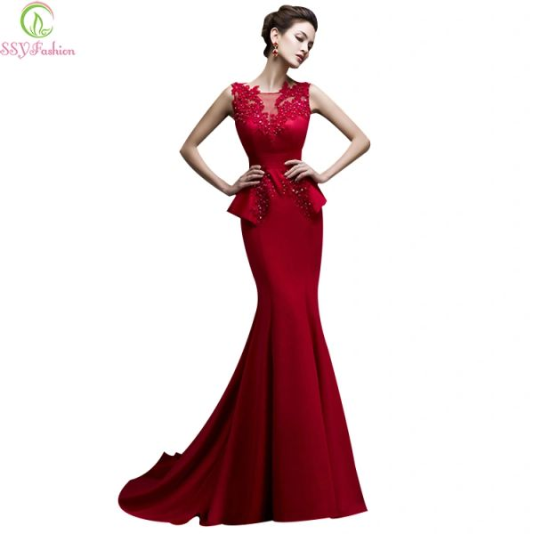 Wholesale Ssyfashion 2017 Bride Banquet Long Red Fishtail Evening