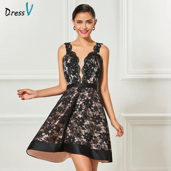 Wholesale Dressv Black Strap A Line Cocktail Dress Knee Length
