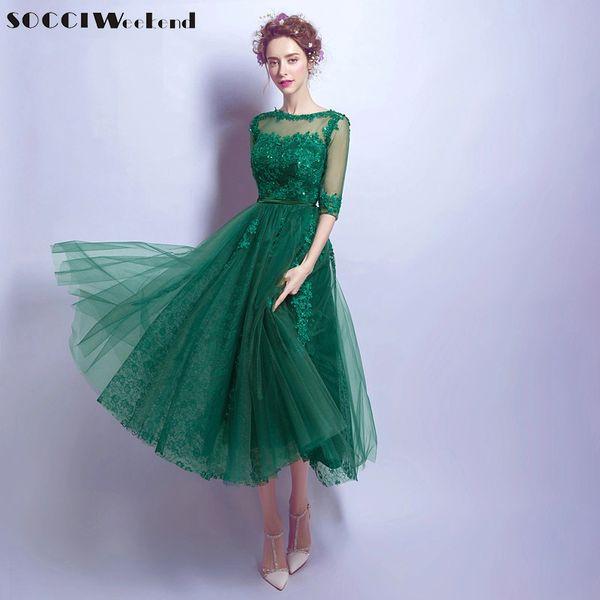 Wholesale SOCCI Elegant Green Lace backless Half sleeve Evening ...