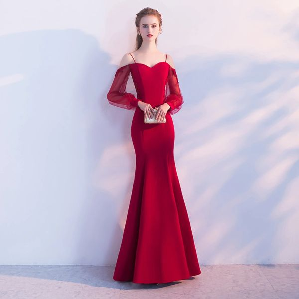 Wholesale SSYFashion New Simple Sexy Red Mermaid Long Evening Dress The Banquet  Sweetheart Long Sleeved Backless Fishtail Prom Party Gown b2a9cb63af67