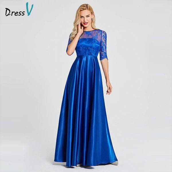 Wholesale Dressv royal blue long evening dress scoop neck a line ...