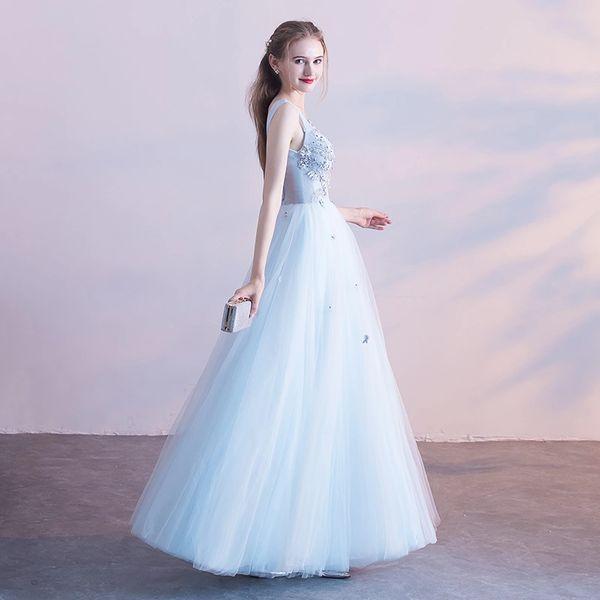 Wholesale SSYFashion New Sweet Light Blue Evening Dress The Bride ...