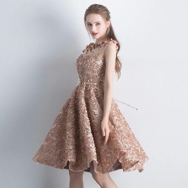 cf43579019a Wholesale SSYFashion New Elegant Lace Evening Dress Bride Banquet Simple  Khaki Short Sleeveless Formal Party Gown Custom Robe De Soiree