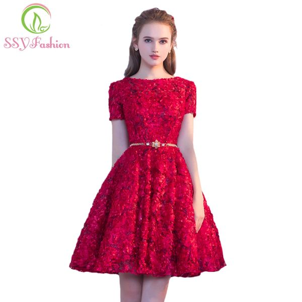 Wholesale SSYFashion New Wine Red Evening Dresses The Bride Short ...