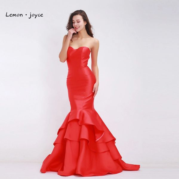 Wholesale Red Evening Dresses Mermaid 2017 with Tiered Stain Floor ...
