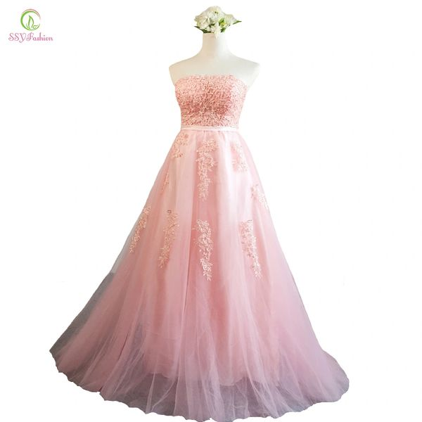 Wholesale SSYFashion New Pink Lace Evening Dress Bride Sexy ...
