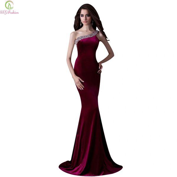 Wholesale Ssyfashion Luxury Velour Banquet Evening Dress One