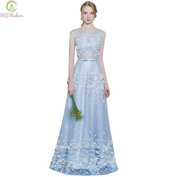 fff21f1abd Wholesale Evening Dress 2017 SSYFashion The Bride Banquet Sweet Light Blue  Lace Flower Sleeveless Long Prom Dress Custom Formal Dresses