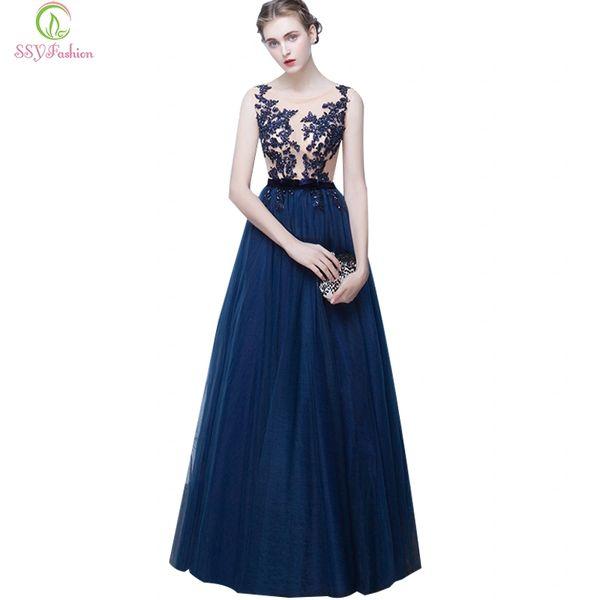 Wholesale SSYFashion New Long Evening Dress Bride Banquet Navy Blue ...