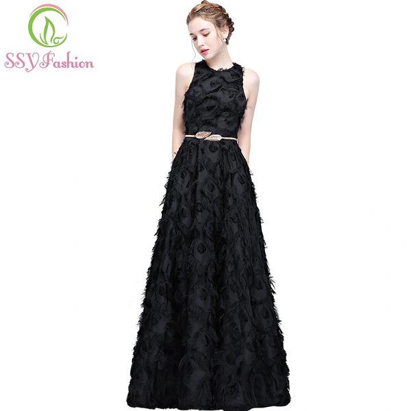 Wholesale SSYFashion New Simple Black Prom Dress The Banquet Elegant ...
