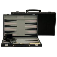 Backgammon in Black Leatherette Case
