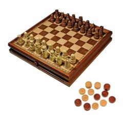 Medieval Chess & Checkers Set with storage drawer