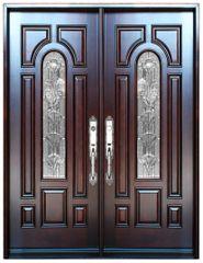 Natural Mahogany Prefinished Solid Wood Prehung Front Door #M280A-DBL80