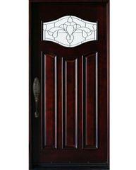 Natural Mahogany Prefinished Solid Wood Prehung Front Door #MP- Sgl-80