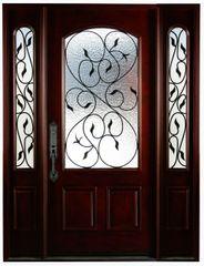 Natural Mahogany Prefinished Solid Wood Prehung Front Door #M002-1d2s80