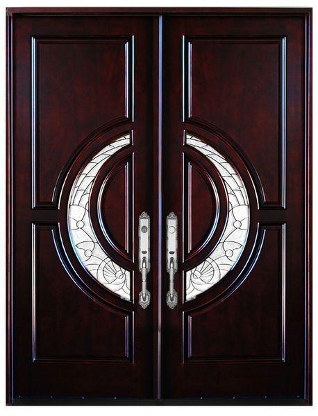 Natural Mahogany Prefinished Solid Wood Prehung Front Door #580E