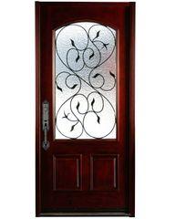 Natural Mahogany Prefinished Solid Wood Prehung Front Door #M002-SGL80