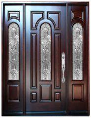 Natural Mahogany Prefinished Solid Wood Prehung Front Door #M280A-1d2s-80