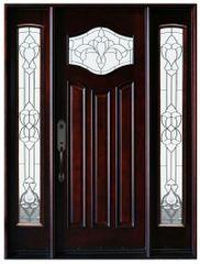 Natural Mahogany Prefinished Solid Wood Prehung Front Door #MP-1D2S80