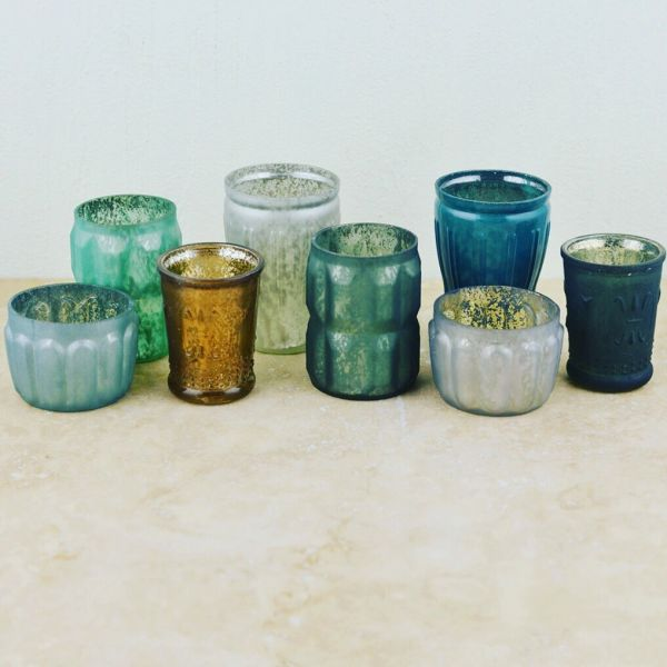 Blue Mercury Glass Tea Light Candle Holders Set Of 8 Sophie Claires