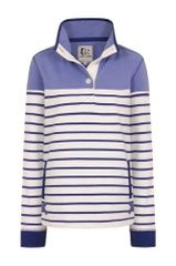 Lazy Jacks Supersoft Striped Button Neck Sweatshirt LJ6 Beached Blue