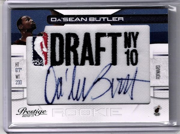 2010 Da'Sean Butler HEAT RC Auto on Draft NY Patch #499