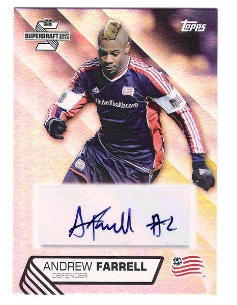 2013 Andrew Farrell #1 draft Pick New England Revolution AUTO RC