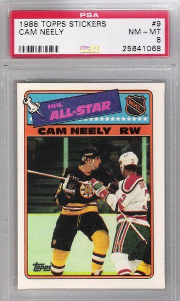 1988 Cam Neely Topps Stickers #9 BRUINS PSA 8