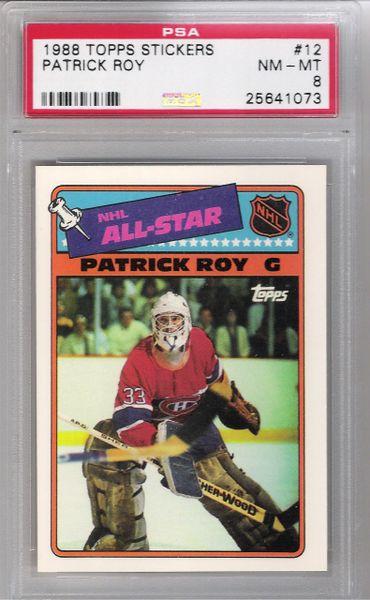 1988 Patrick Roy Topps Stickers #12 Canadiens PSA 8