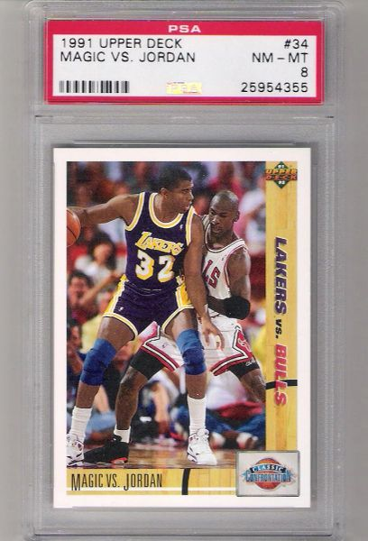 1991 Upper Deck Magic vs. Jordan card #34 PSA 8