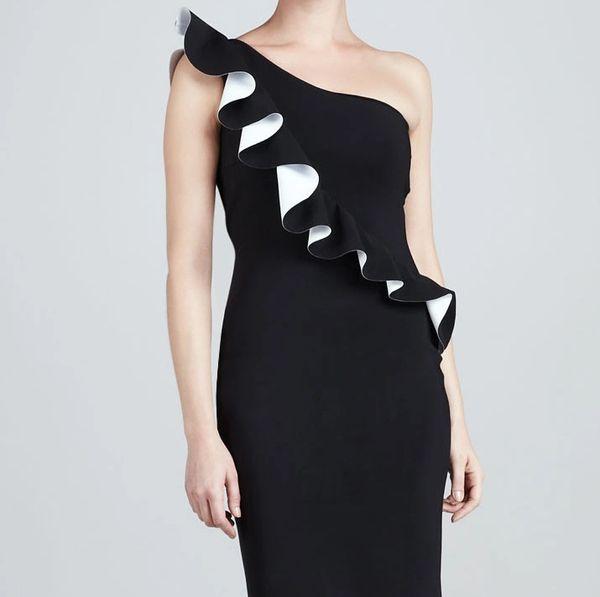 a1183997 Couture Chiara Boni La Petite One Shoulder Gown: Black and White, Size 4  (EUR)