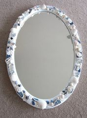 "34"" Round White Sandy Beach Mirror"