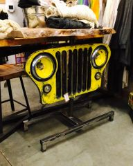 Vintage Willys Lighted Grill With Maple Live Edge Top SOLD