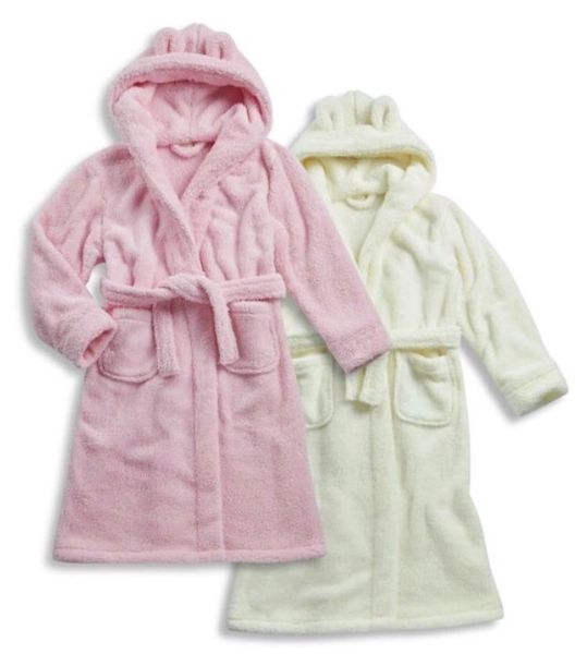 Cream fluffy hooded dressing gown with ears | The Little Embroidery ...