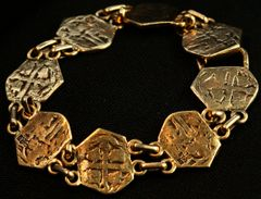 Reale Bracelet, 7 Spanish 1 Reale replica in 14 Karat Gold