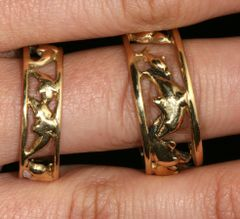 Dolphin Ring Bands in 14K Gold - Large