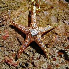 Large Starfish pendant in 14K gold with .35 diamond and 15 diamond paves in tentacle