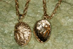 14K Gold Abalone Pendant - Large - with added 6 pave Diamonds in holes